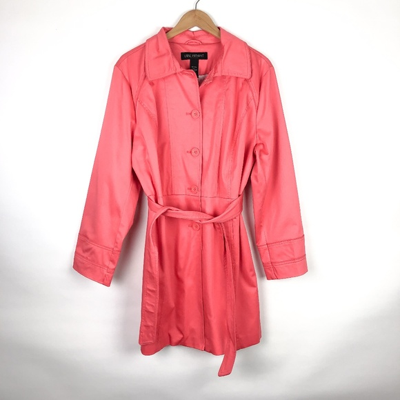Lane Bryant Jackets & Blazers - Lane Bryant Bright Coral Belted Trench Coat NWT